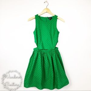 Topshop Green Eyelet Side Cut Out Dress